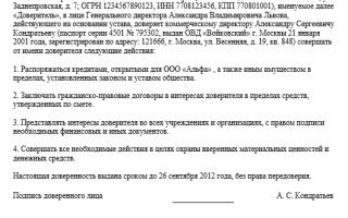 Доверенность на право подписи первичных документов