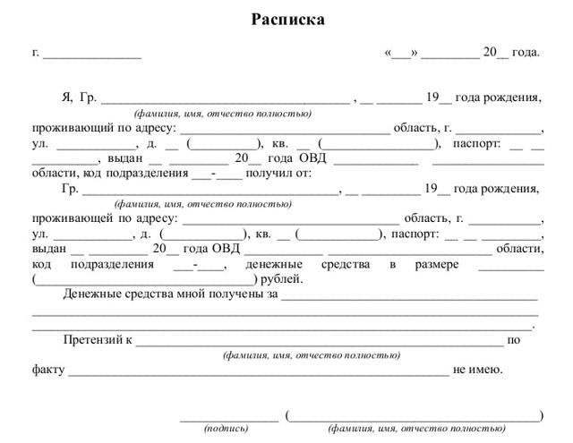 Образец расписки о передаче денежных средств