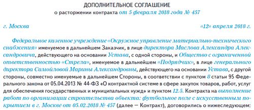 Образец соглашения о расторжении контракта по соглашению сторон 44-фз