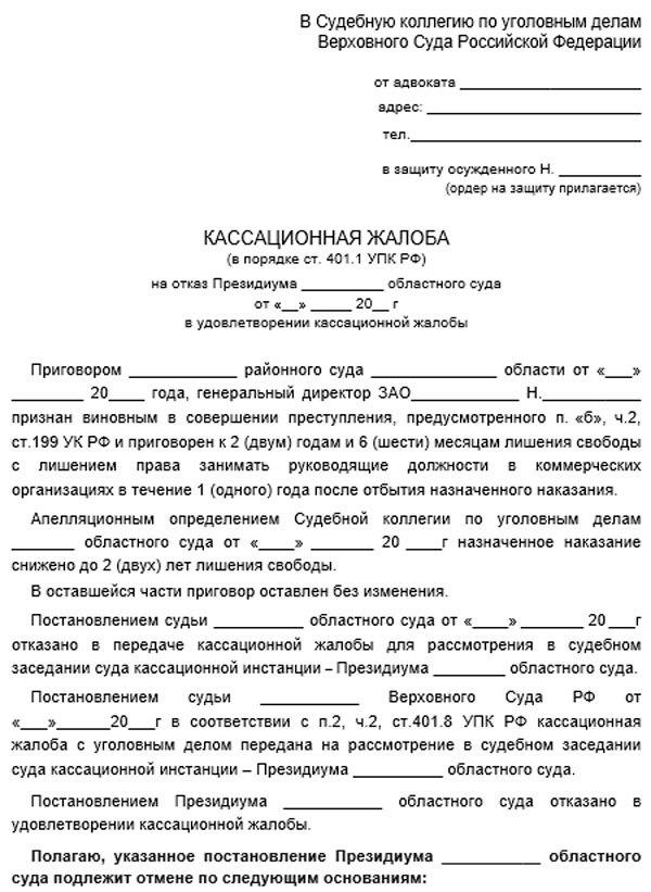 Образец кассационной жалобы в Верховный суд РФ по уголовному делу