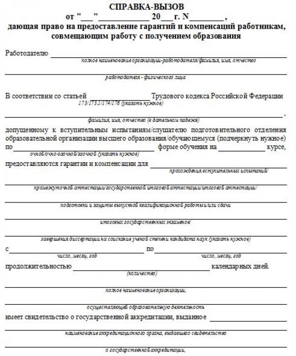 Образец заявления на ученический отпуск сотрудника