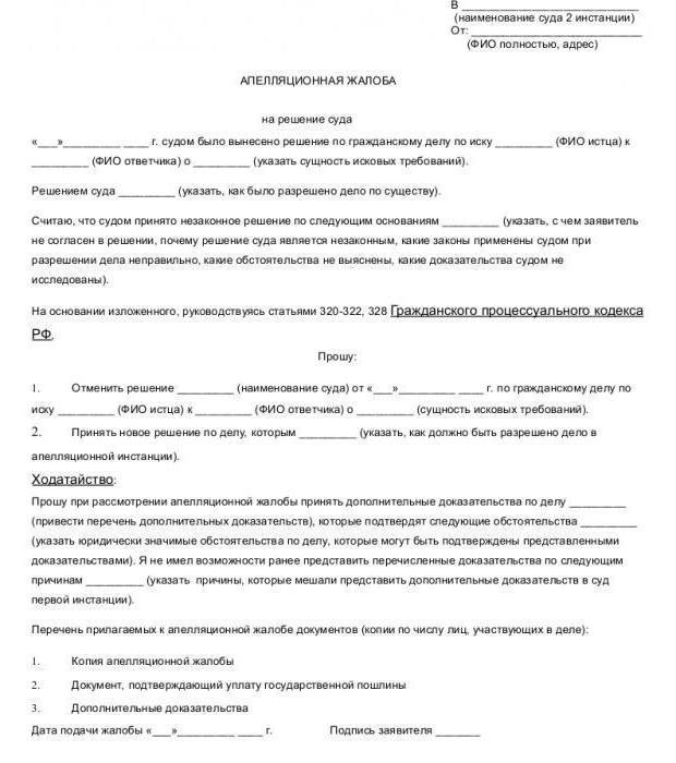 Жалоба на решение суда по гражданскому делу (образец)