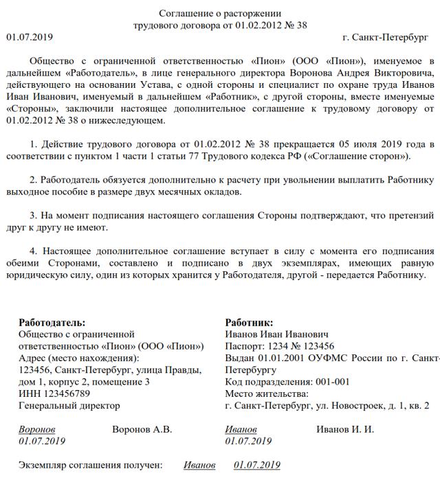 Соглашение о расторжении трудового договора по соглашению сторон