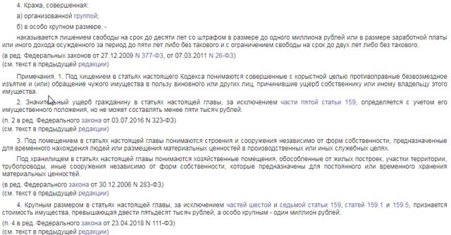 Ст. 158 УК РФ с комментариями 2020 года (новая редакция с последними изменениями)
