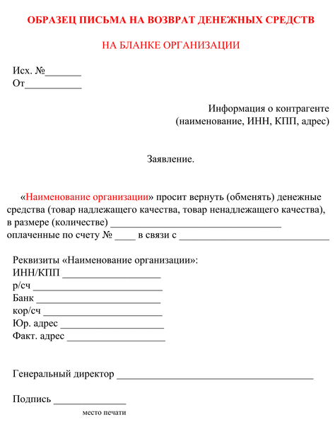 Образец письма о возврате денежных средств на расчетный счет