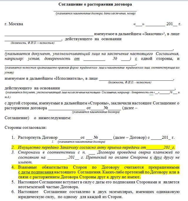Образец соглашения о расторжении договора аренды нежилого помещения